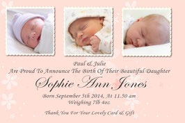 Baby Announcement cards Pink 3 photo