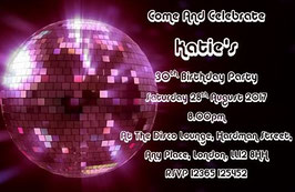 Personalised Disco Invitations ~ Invite with envelopes ANY AGE CAN BE DONE, Ref B103
