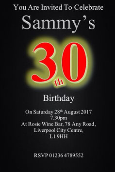 Personalised Numbered Invitations ~ Invite with envelopes ANY AGE CAN BE DONE, Ref B101
