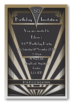 Art Deco Personalised Birthday Invitations ~ Invite with envelopes ANY AGE, Ref BD84