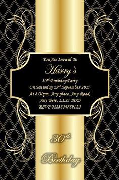 Personalised Birthday Invitations ~ Invite with envelopes ANY AGE, Ref BG9