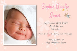 Baby Announcement cards Pink D3