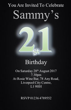 Personalised Numbered Invitations ~ Invite with envelopes ANY AGE CAN BE DONE, Ref B102