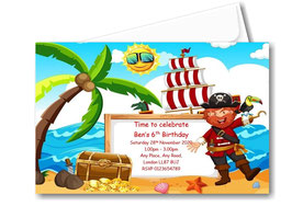 Birthday party invitation Personalised Pirate theme BD80