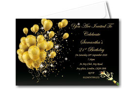 Personalised Birthday Invitations ~ Invite with envelopes ANY AGE, Ref BD81