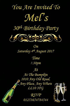 Personalised Birthday Invitations ~ Invite with envelopes ANY AGE CAN BE DONE, Ref BD18G
