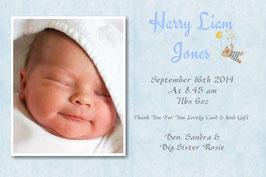 Baby Announcement cards Blue D3