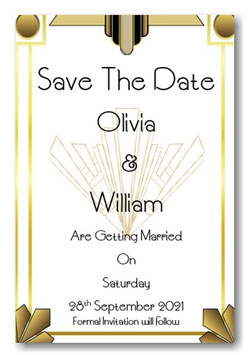 Art Deco Save the Date or Save the Evening Ref SE4