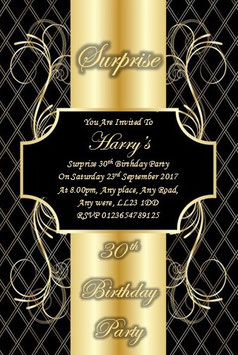 Personalised Surprise Birthday Invitations Invite With Envelopes ANY AGE Ref BG10