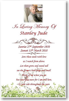 A6 Funeral, Memorial, Remembrance, Keepsake Personalised Cards & Seeds Set Ref M5