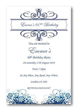 Blue & White Birthday Invitations ~ Invite with envelopes ANY AGE, Ref B67