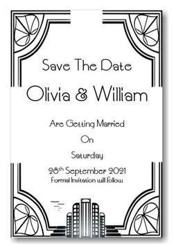 Art Deco Save the Date or Save the Evening Ref SE5