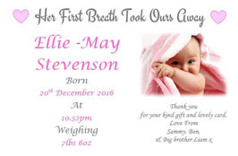 Baby Announcement cards Pink Ref AC22