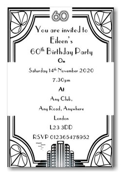 Art Deco Personalised Birthday Invitations ~ Invite with envelopes ANY AGE, Ref BD86