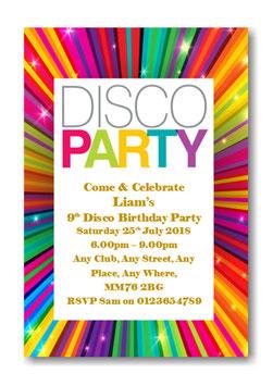 Personalised Disco Birthday Party Invitations