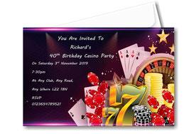 Casino Birthday Invitations ~ Invite with envelopes ANY AGE, Ref B65