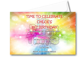 Birthday party invitation Personalised Colourful theme BD82