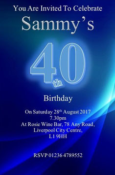Personalised Blue Invitations ~ Invite with envelopes ANY AGE CAN BE DONE, Ref B100