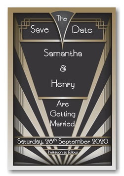 Art Deco Save the Date or Save the Evening Ref SE3