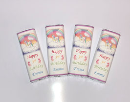 Unicorn Kitkat DIY WRAPPERS Personalised with your message Ref K51 Unicorn Rainbow
