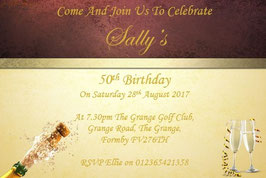 Personalised Birthday Invitations ~ Invite with envelopes ANY AGE CAN BE DONE, Ref B104