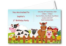 Birthday party invitation Personalised Farm theme BD79