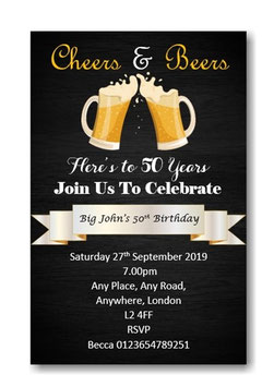 Beer Birthday Invitations ~ Invite with envelopes ANY AGE, Ref B62