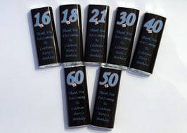 Black & Blue Kitkat DIY WRAPPERS Personalised with your message Ref BB