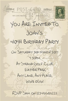 Personalised Birthday Invitations ~ Invite with envelopes ANY AGE CAN BE DONE, Ref BSD