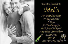 Personalised Birthday Invitations ~ Invite with envelopes ANY AGE CAN BE DONE, Ref BD17G
