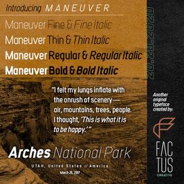 Maneuver (includes: Fine, Fine Italic; Thin, Thin Italic; Regular, Regular Italic; Bold, Bold Italic)