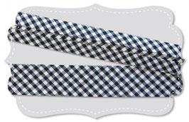 Schregband Webkaro klein schwarz weiss