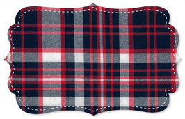 Baumwolle Soft Twill Karo navy blazer tango red