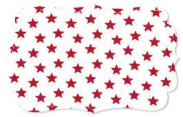 Interlock Jersey Rote Sterne auf weiss