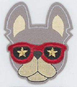 Flick aufnäher Hund mit Brille