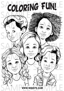 Coloring Page Set: cute faces, Halloween, Christmas, kids and balloons, balloons, blanc faces