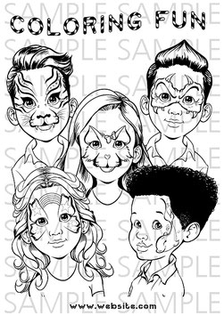 Coloring Page Cute Faces