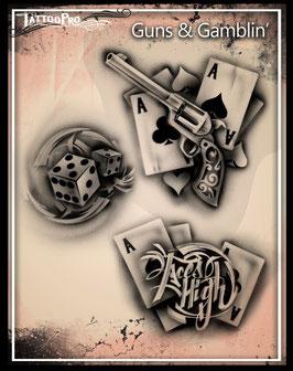 """Stencil """"Guns & Gamblin'"""""""
