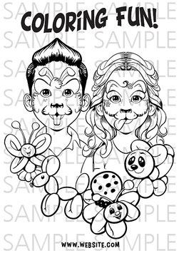 Coloring Page Kids and Balloons