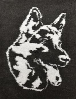 Dry Bed 75 cm x 100 cm mit Schäferhundkopf