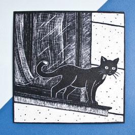 """Postkarte """"Katze auf der Fensterbank"""""""