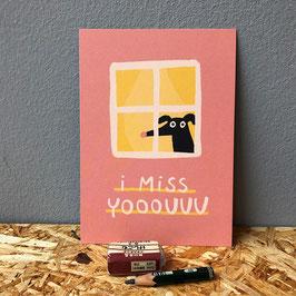 """Postkarte """"I miss yooouuu"""""""