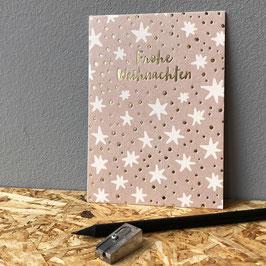 """Postkarte """"Frohe Weihnachten"""" gold"""