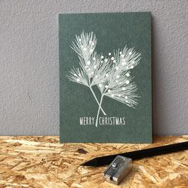 """Postkarte """"Merry Christmas"""" grün"""
