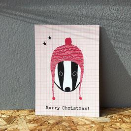 """Postkarte """"Weihnachtsdachs"""""""