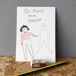 """Postkarte """"Du fehlst mir ziemlich"""""""