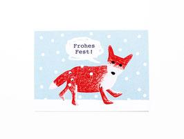 """Postkarte """"Weihnachtsfuchs"""""""