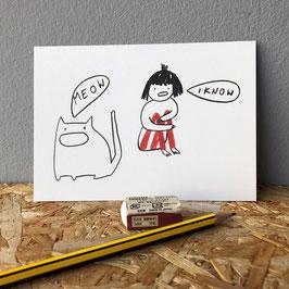 "Postkarte ""Meow"""