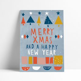 """Postkarte """"Merry Xmas and a Happy New Year"""""""