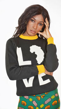 LOVE AFRICA PULLOVER BLACK / YELLOW